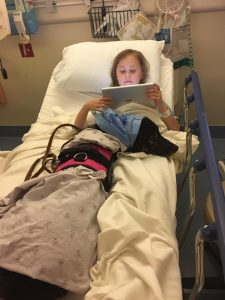 A little girl in a hospital bed with her border collie service dog.