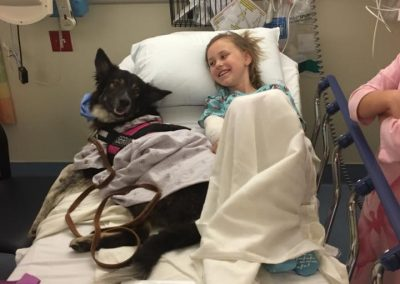 A young child with cancer in her hospital bed, with her border collie service dog.
