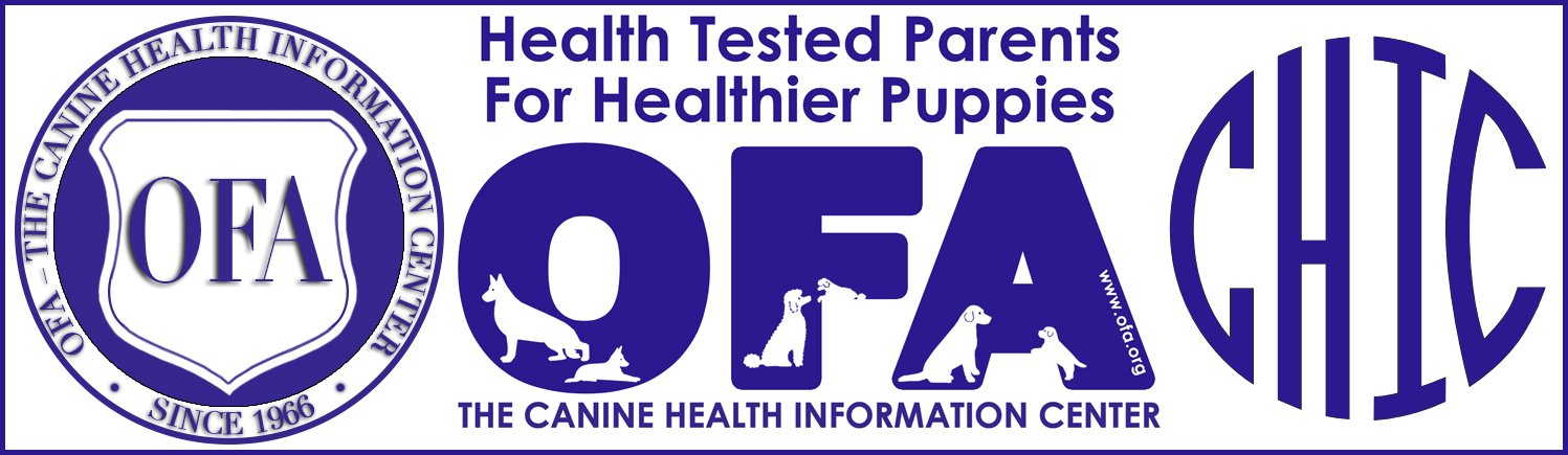 OFA CHIC certification badge for 2J 2K Puppies.