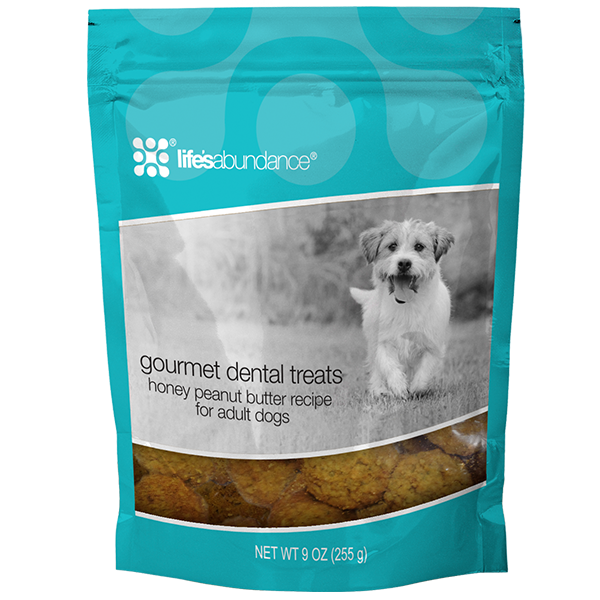 A bag of gourmet dental treats from Life's Abundance at the 2J 2K Ranch.